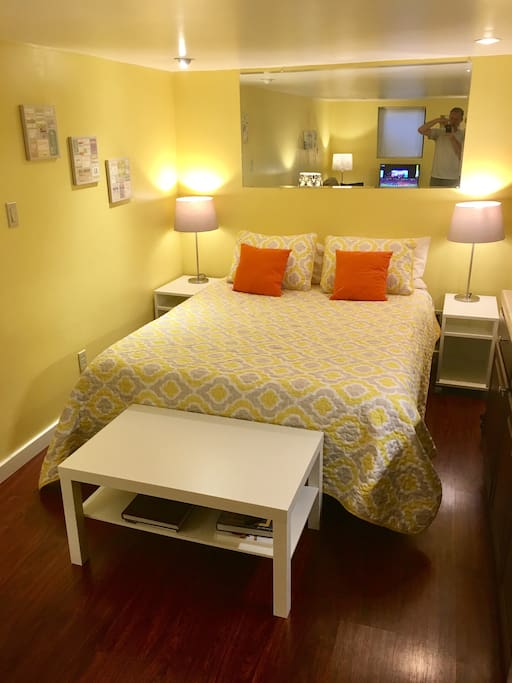 Comfy queen bed with pillow-top mattress.