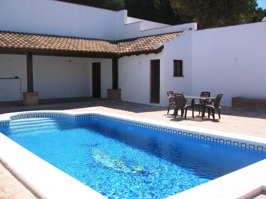 Our own private heated pool in the back garden.