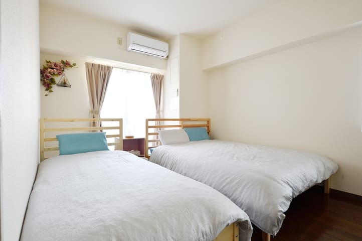 Bed room single bed and double bed