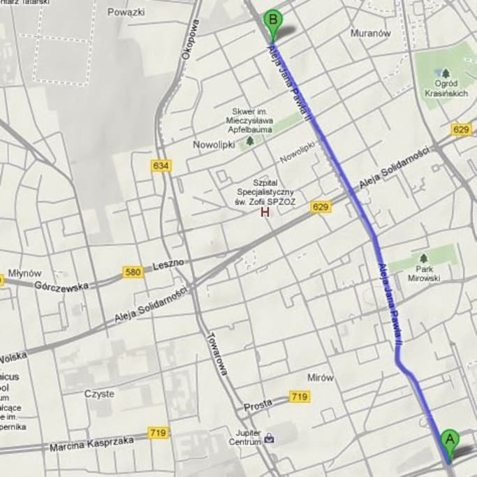 Itinerary from the center, very easy to find the place from the main train station & airport