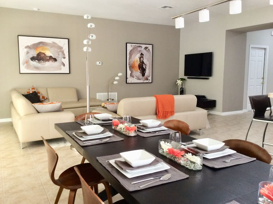 Open plan living with leather sectional seating