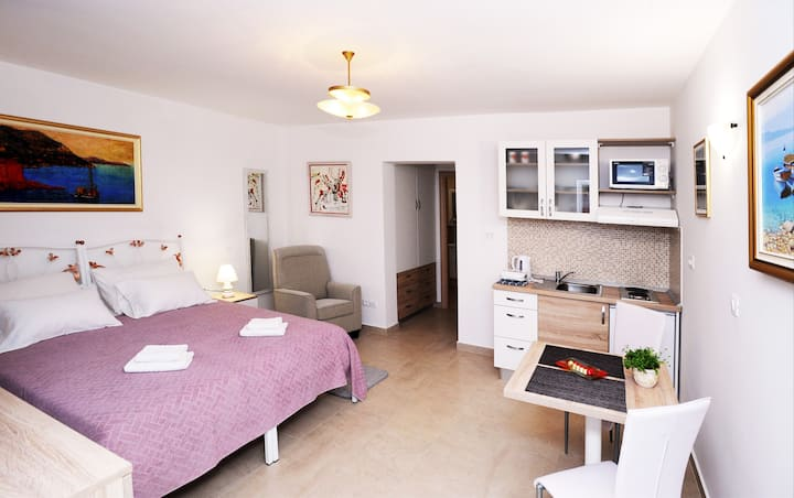 Nika Family Apartments - Deluxe Studio Apartment with Terrace and Sea View (A1)