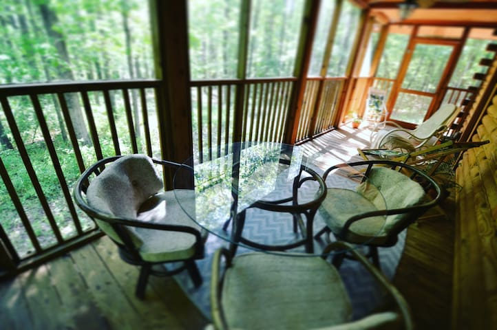 Lower level screened-in porch with outdoor dining space