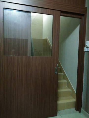 The sliding door can be locked from inside for your privacy.