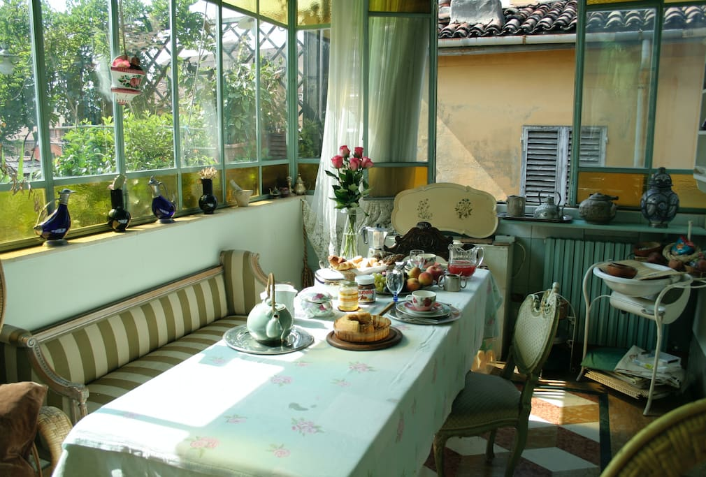 Breakfast served in the amazing veranda(can be booked as extra service in advance)