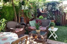 Private, Fenced Backyard Garden Sanctuary available anytime you want to relax and enjoy the garden.