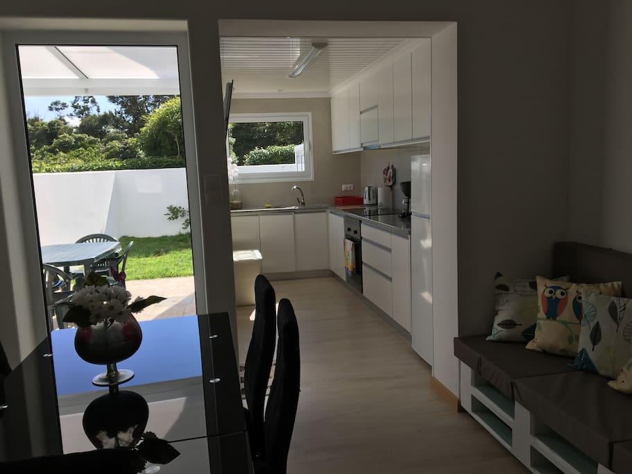 Bright common area and kitchen