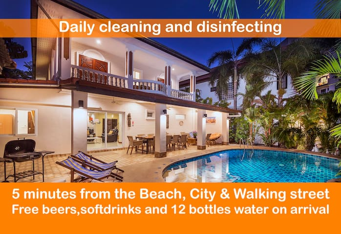 ★★★★★Villa Waree minutes  Walking street and Beach