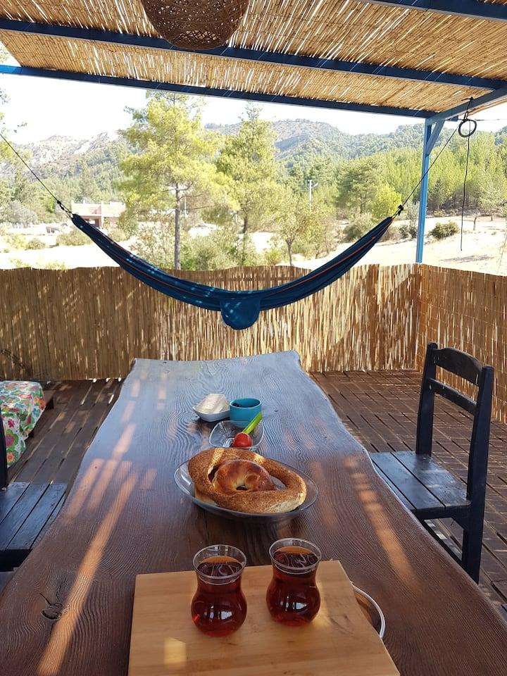 Rustic cabin with a cool veranda near Kaş