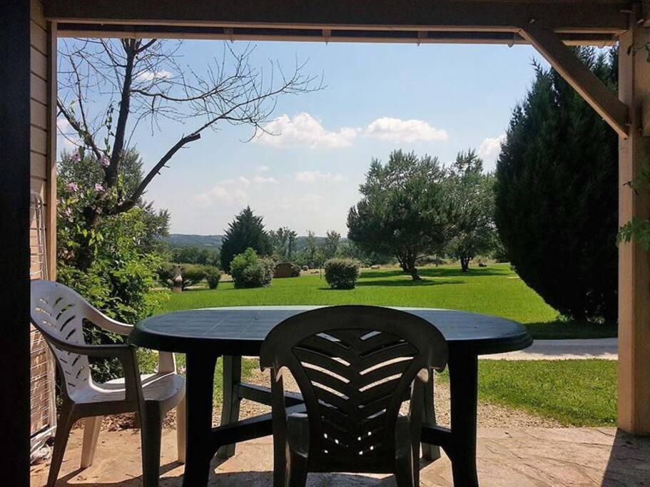 Point de vue de la terrasse d'un gite...