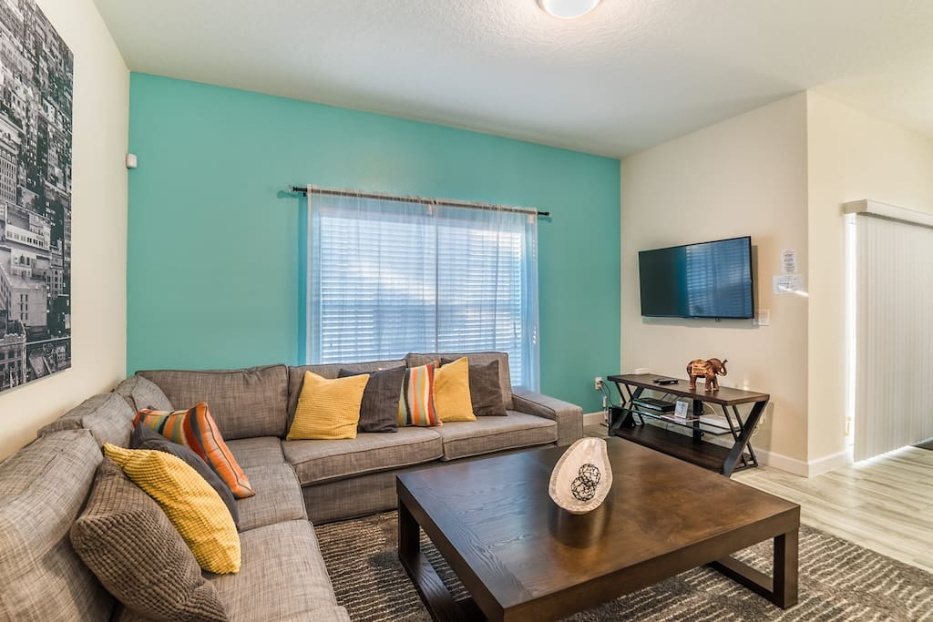 Comfortable living room with flat screen TV