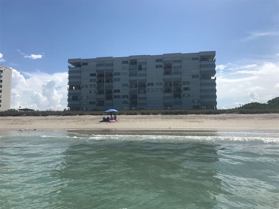 View from the ocean. We are the second condo down from the top on the right side (not on the end)