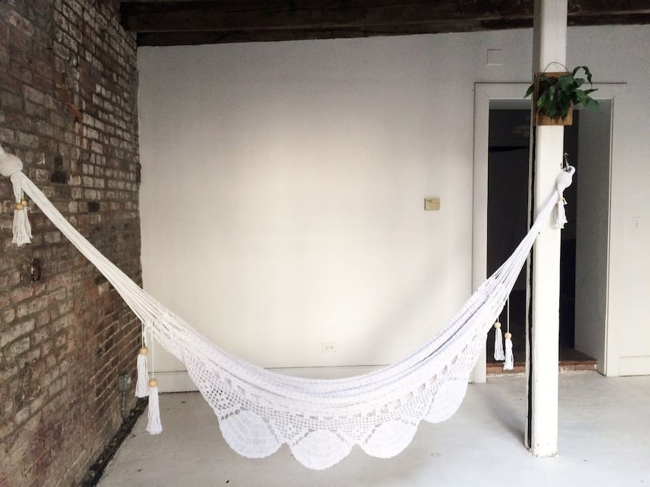 Relax in a hammock in the main space