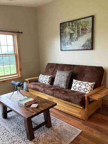 This one bedroom apartment  are best suited for 2 adults.  If needed, this queen-sized,  futon sofa bed in the living room may be used for an extra sleeping space.