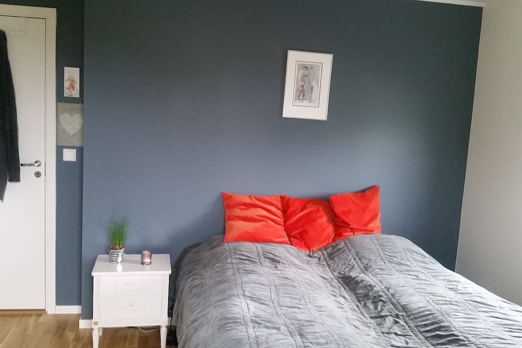 Master bedroom. Bed is  180cm. Has a big terrace
