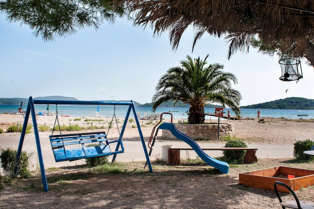The beach playground with a café and fast food