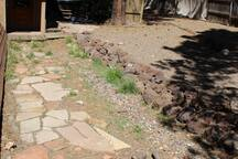 Flagstone path backyard
