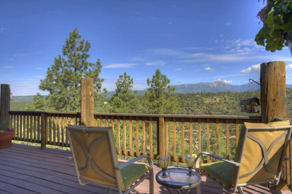 Large deck w mountain viewsa at Durango Colorado vacation rental home