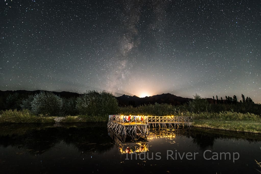 Milky Way view at the pond at night