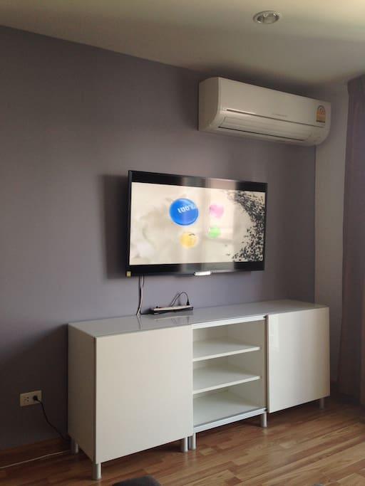 TV, cabinet, aircon