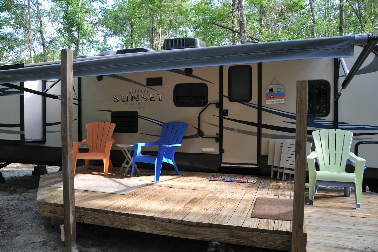 Deck of the camper with the view of the pastures at 1 Oak Riding Stables