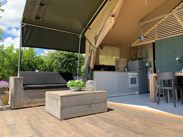Luxury waterfront Safari Tent near Amsterdam
