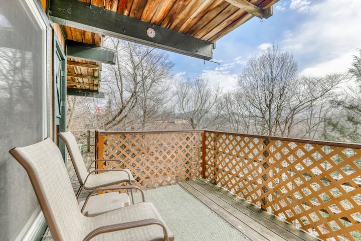 Ski-in/ski-out condo with shared tennis courts and views of the slopes!
