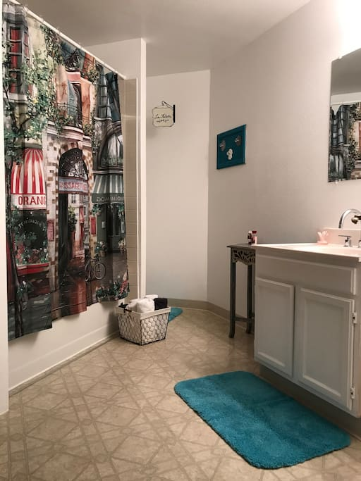 View from entrance-Bathroom has shower over tub