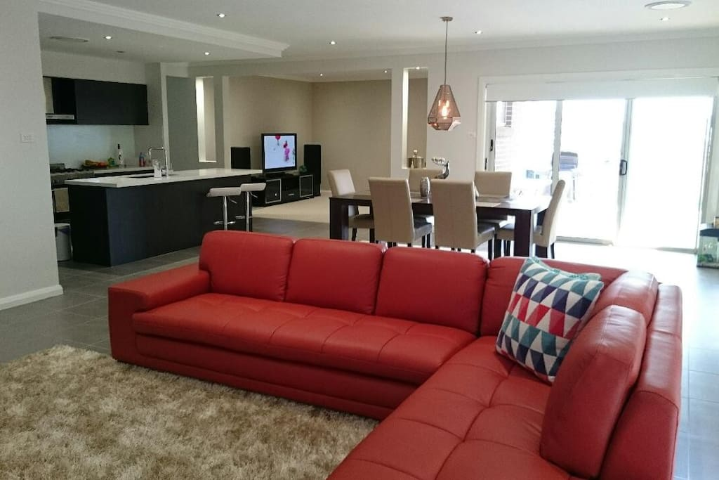 Open living room with kitchen area