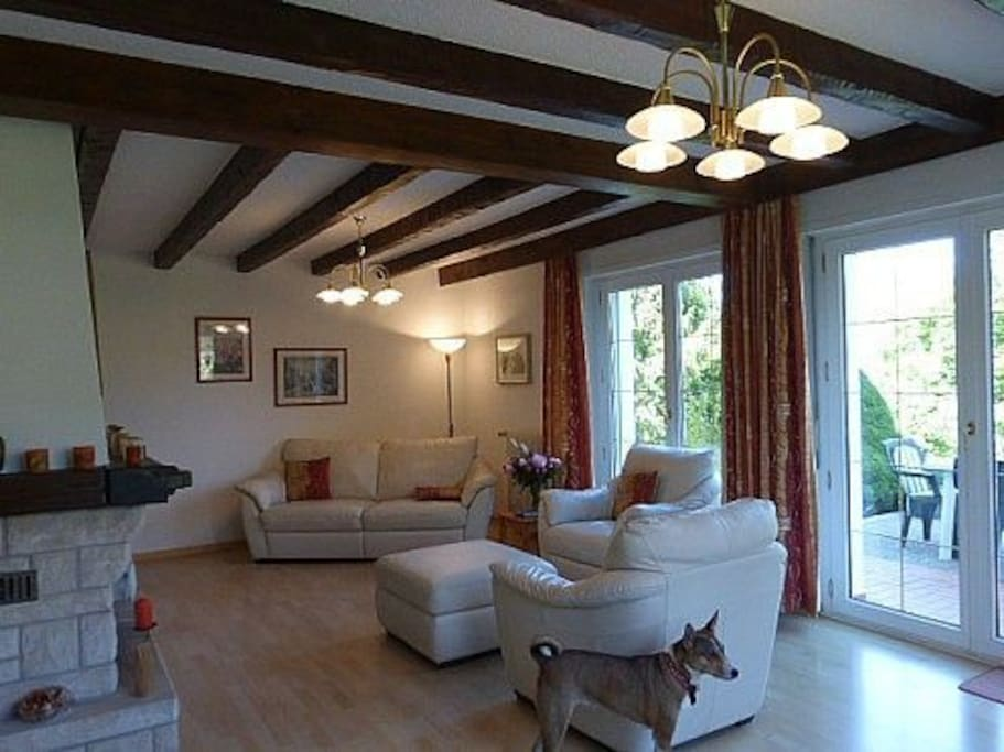 The living room with open fireplace and view to the garden