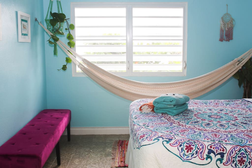 Large windows with an ocean breeze. Take a nap on the bed or in your own hammock.