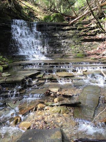 Hidden Waterfalls just a short walk from the cabin!