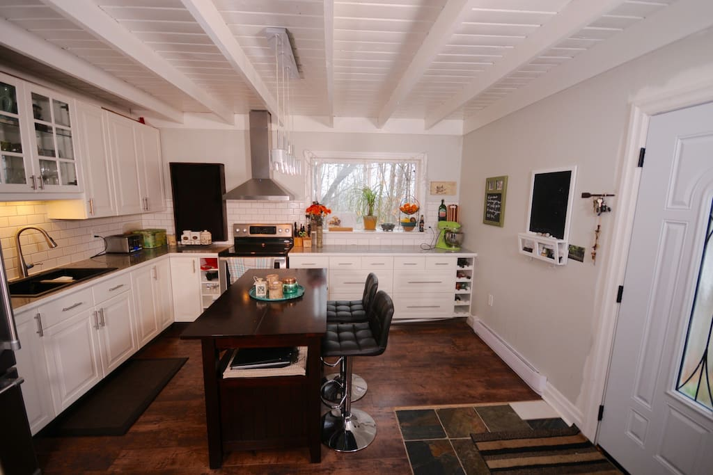 Open concept kitchen - view from living room