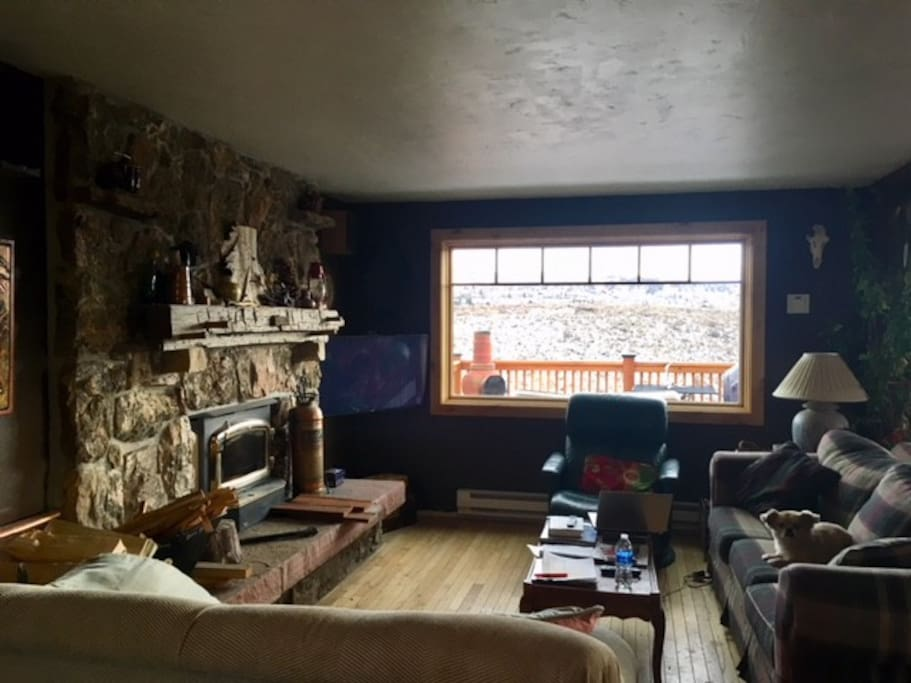 Living room area with wood burning fireplace and picture window