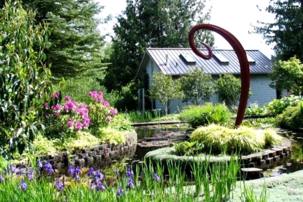 Pond & Sculpture Adjacent to Cottage