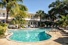 Spacious One Bedroom Apartment Suite with One Queen Bed, Full Kitchen, and Pool. Two Minute Walk to the Beach.