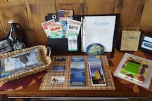 Our welcome table comes with maps, suggestions, and other information about the islands in general as well as Serenity specifically.
