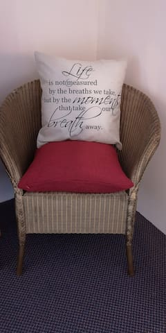 A comfy corner in Cwtch Cottage.