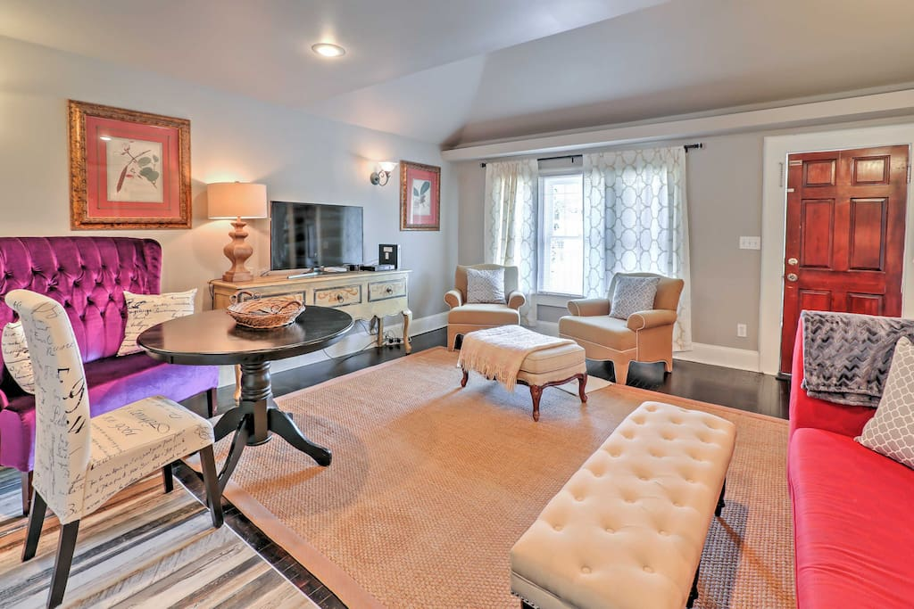 Step inside the open layout and relax on the modernly upholstered furnishings.