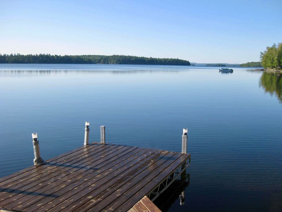 Right view of lake from the dock on a clear morning
