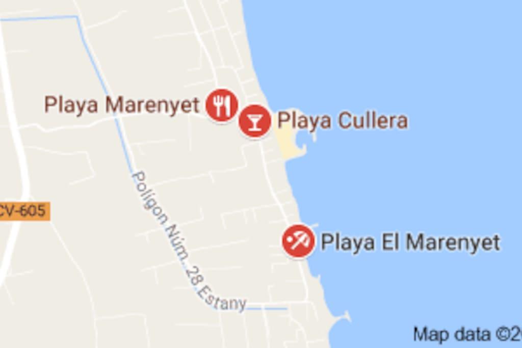 Mapa de la Playa de Marenyet en Cullera