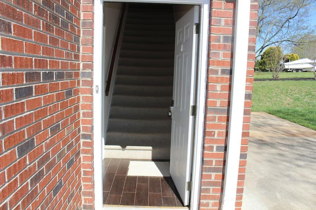Entrance door opens with code