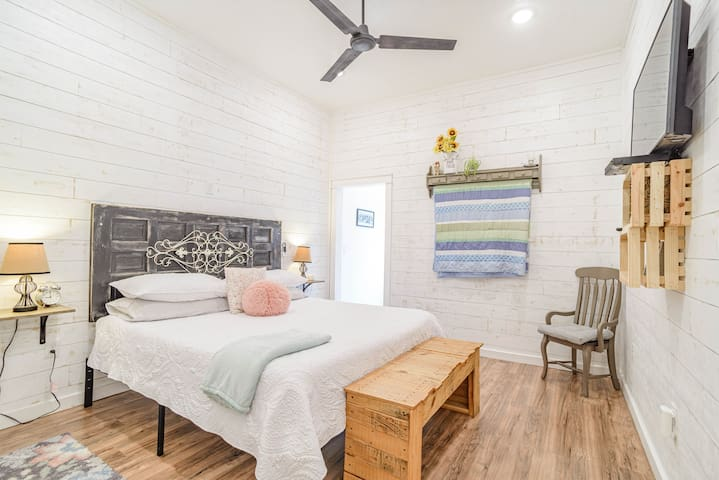 Master bedroom in the Homestead with king bed.
