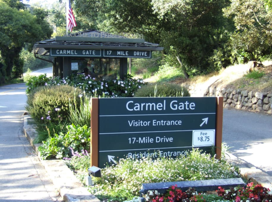 The Carmel gate entrance to 17-mile Drive in Pebble Beach is just a few miles away!