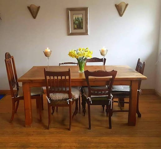 Dining room for guests to eat or work
