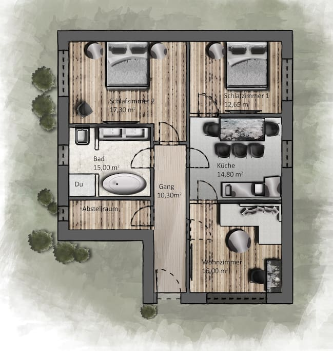 The architectural drawing of the Accommodation