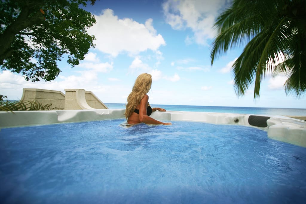 Relax in the plunge pool overlooking the caribbean sea