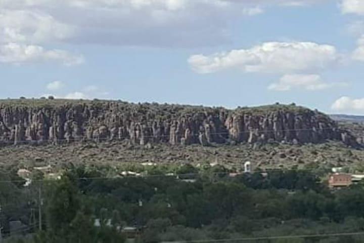 View of town and Sleeping Lion Mountain to the NE from the deck. You can  easily spot the Fort Davis State Bank, the clock tower of the courthouse along with other points of interest.