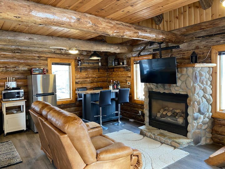 Beautifully rustic log home with lake access