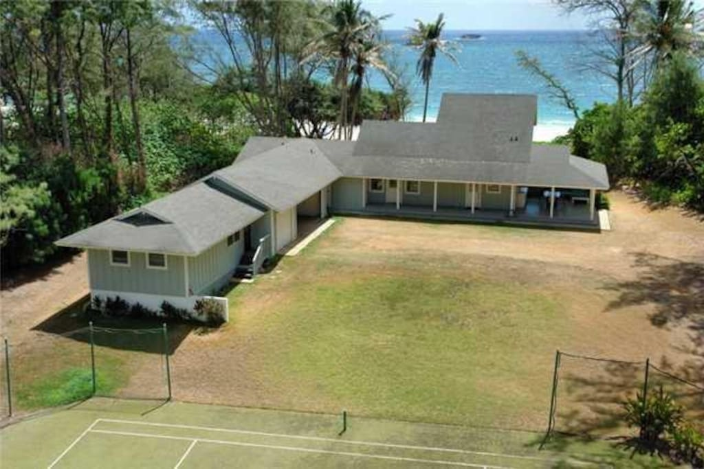 Aireal view of the house, looking across the sport court